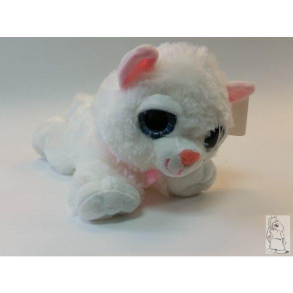plüss nagy szemű  fekvő cica  fehér