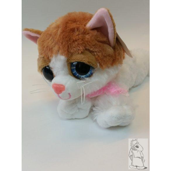 plüss nagy szemű cica fekvő barna