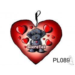 Fekete kutyás szív párna